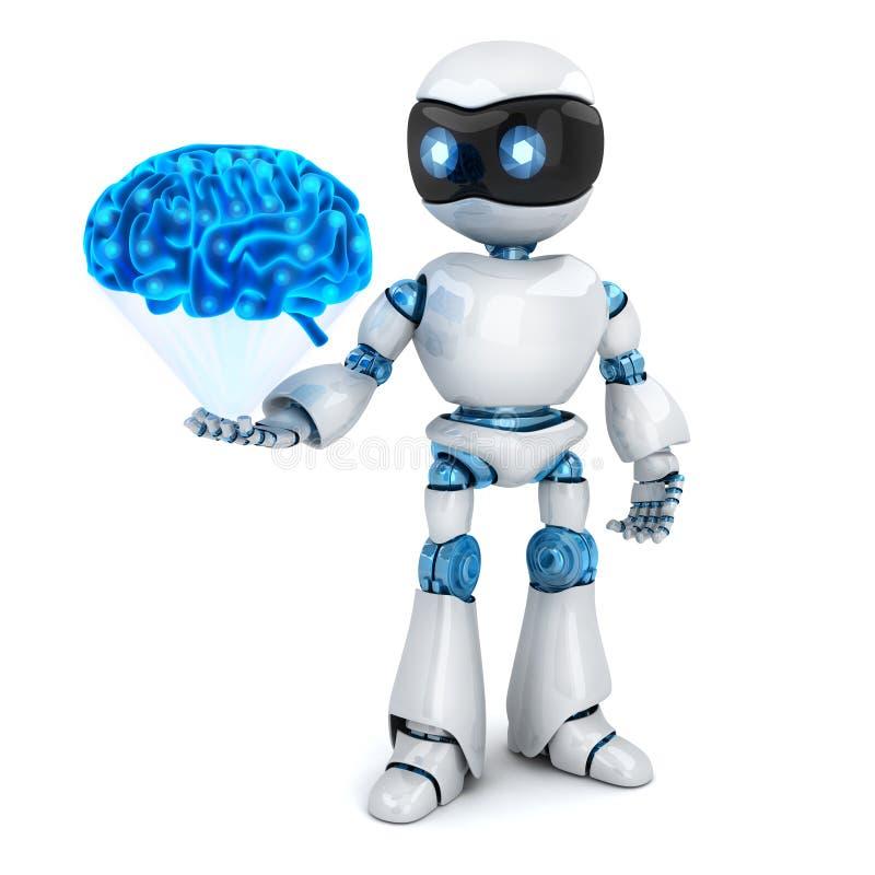 Άσπρο ρομπότ και αφηρημένος μπλε εγκέφαλος διανυσματική απεικόνιση