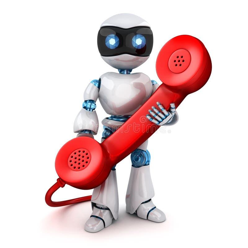 Άσπρο ρομπότ και παλαιό κόκκινο τηλέφωνο διανυσματική απεικόνιση