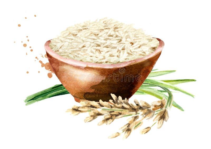 Άσπρο ρύζι σε ένα κύπελλο Συρμένη χέρι απεικόνιση Watercolor, που απομονώνεται στο άσπρο υπόβαθρο στοκ εικόνα με δικαίωμα ελεύθερης χρήσης
