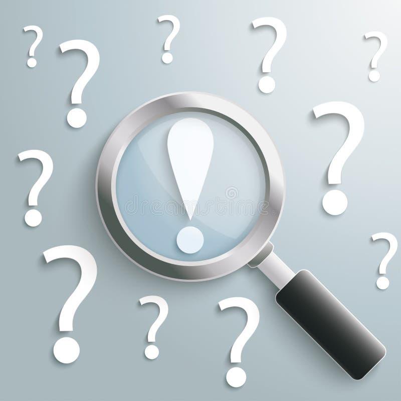 Άσπρο σημάδι θαυμαστικών Loupe ερωτηματικών απεικόνιση αποθεμάτων
