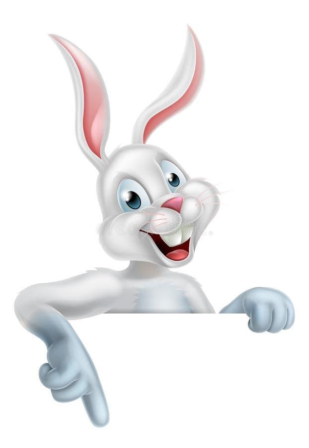 Άσπρο σημάδι κουνελιών λαγουδάκι Πάσχας διανυσματική απεικόνιση