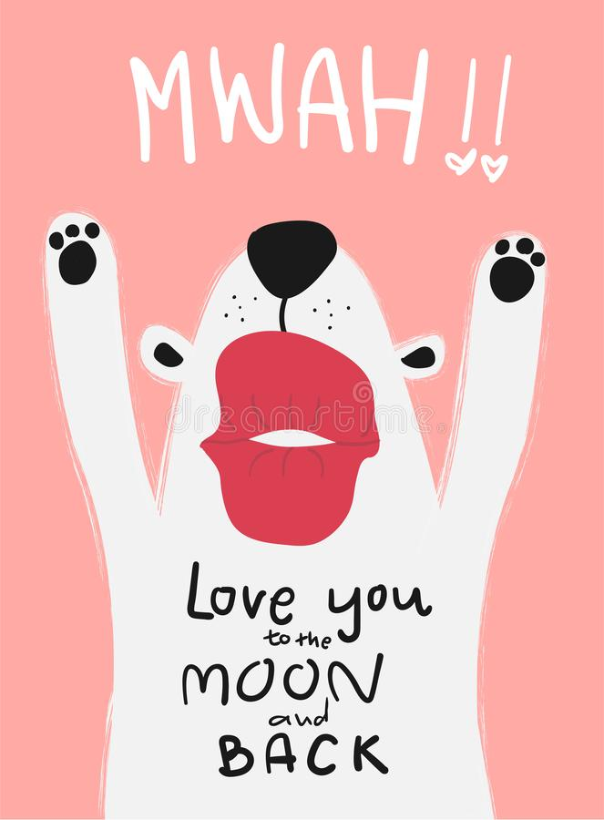 Άσπρο σκυλί καρτών αγάπης με το μεγάλο φιλί mwah απεικόνιση αποθεμάτων
