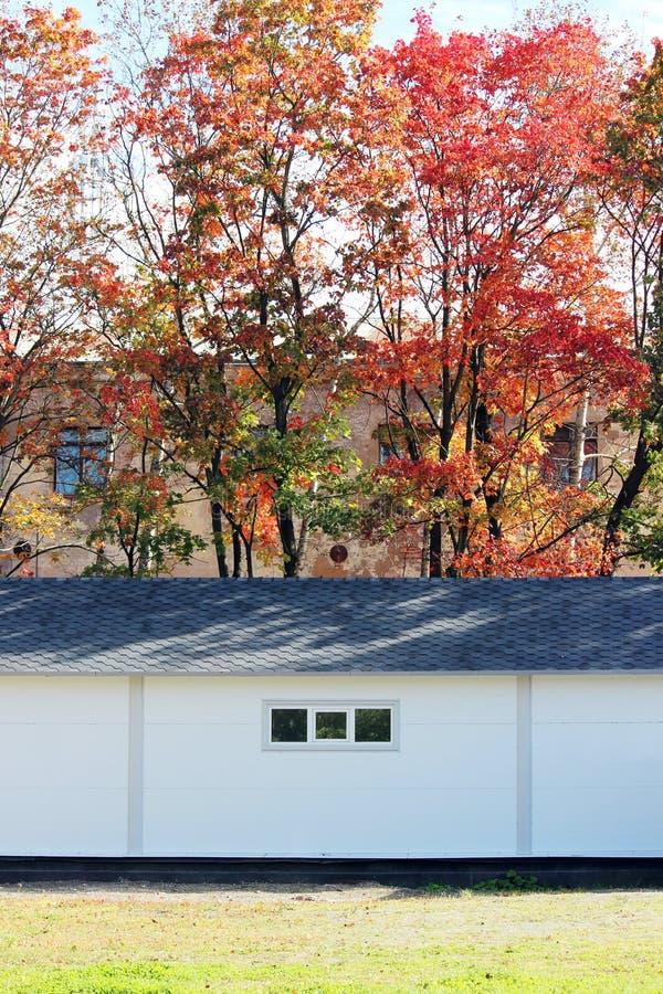 Άσπρο σπίτι σύστασης τοίχων, σκοτεινό κιβώτιο, εύκαμπτα καφετιά κεραμίδια στο υπόβαθρο του πολύχρωμου δάσους φθινοπώρου φύλλων στοκ εικόνες