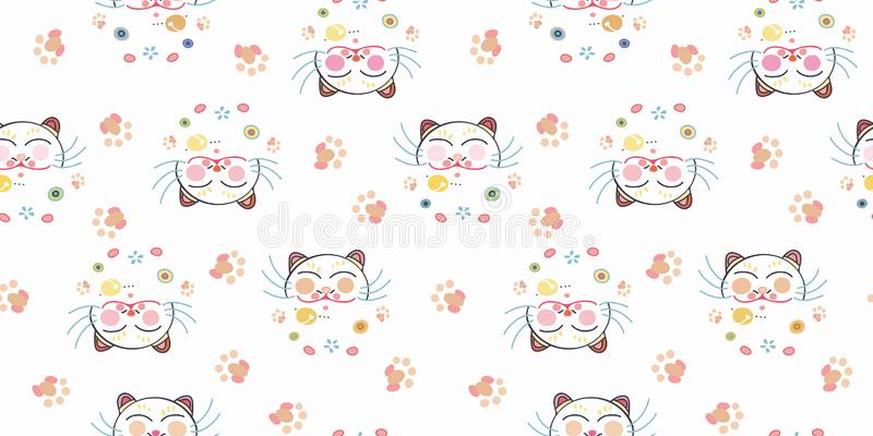 Άσπρο σχέδιο με την ευτυχή γάτα και floral ελεύθερη απεικόνιση δικαιώματος