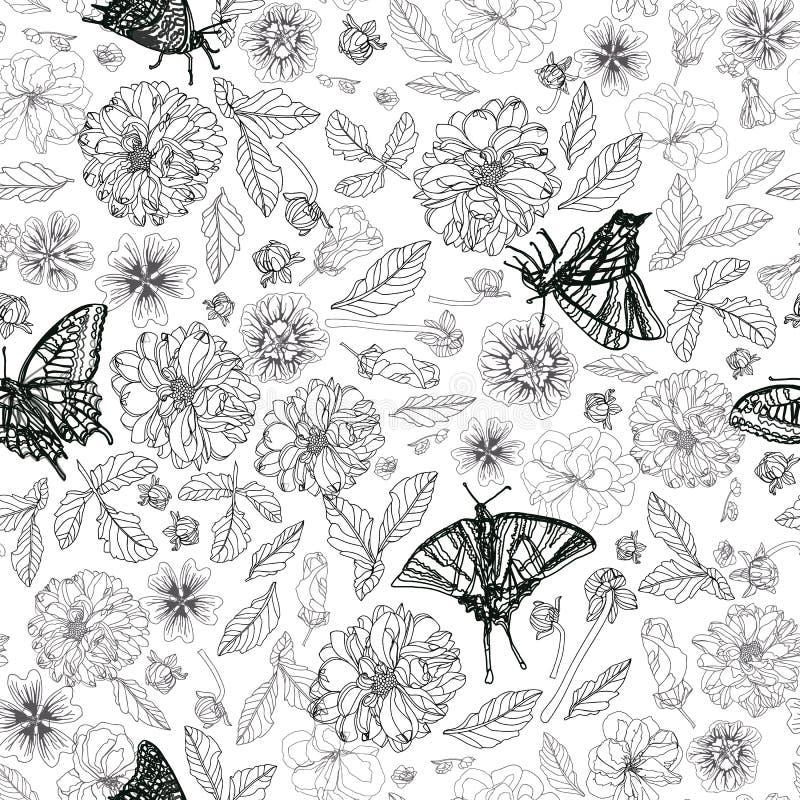 Άσπρο σχέδιο με την πεταλούδα και floral απεικόνιση αποθεμάτων