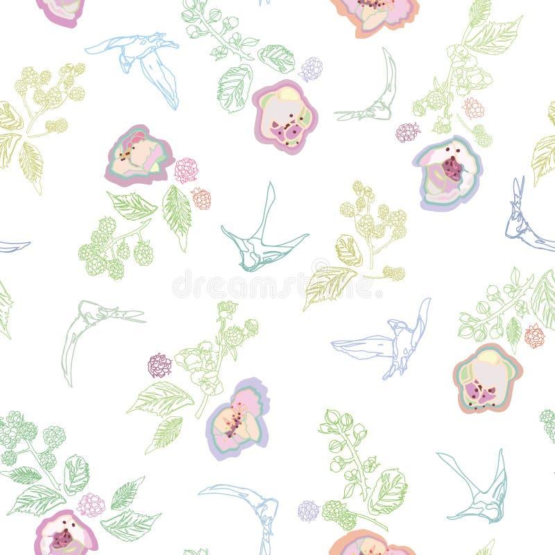 Άσπρο σχέδιο με το πουλί και floral διανυσματική απεικόνιση
