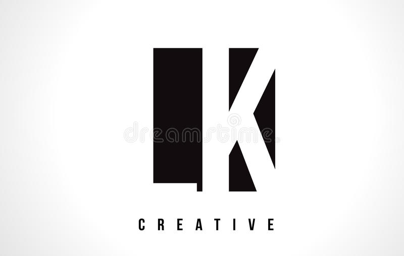 Άσπρο σχέδιο λογότυπων επιστολών της LK Λ Κ με το μαύρο τετράγωνο ελεύθερη απεικόνιση δικαιώματος