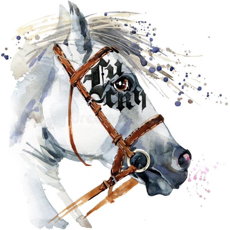 Άσπρο σχέδιο watercolor επιβητόρων Άσπρο watercolor αλόγων ελεύθερη απεικόνιση δικαιώματος