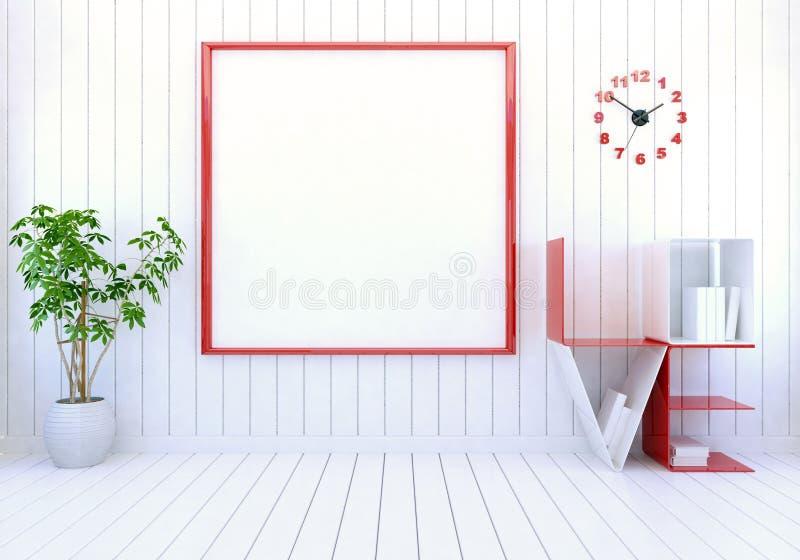 Άσπρο σύγχρονο εσωτερικό δωματίων με το κενό πλαίσιο φωτογραφιών στον τοίχο και το ράφι βιβλίων αγάπης λέξης για την ημέρα βαλεντ απεικόνιση αποθεμάτων