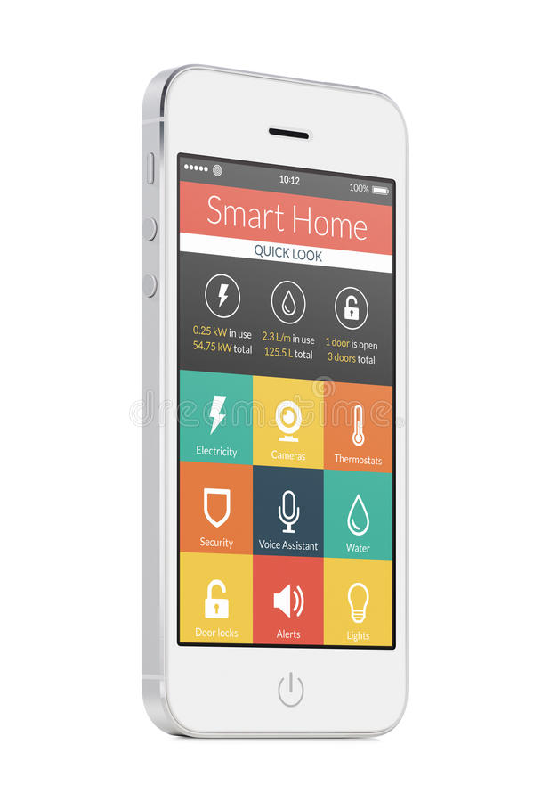 Άσπρο σύγχρονο κινητό έξυπνο τηλέφωνο με έξυπνη εγχώρια εφαρμογή στο τ διανυσματική απεικόνιση