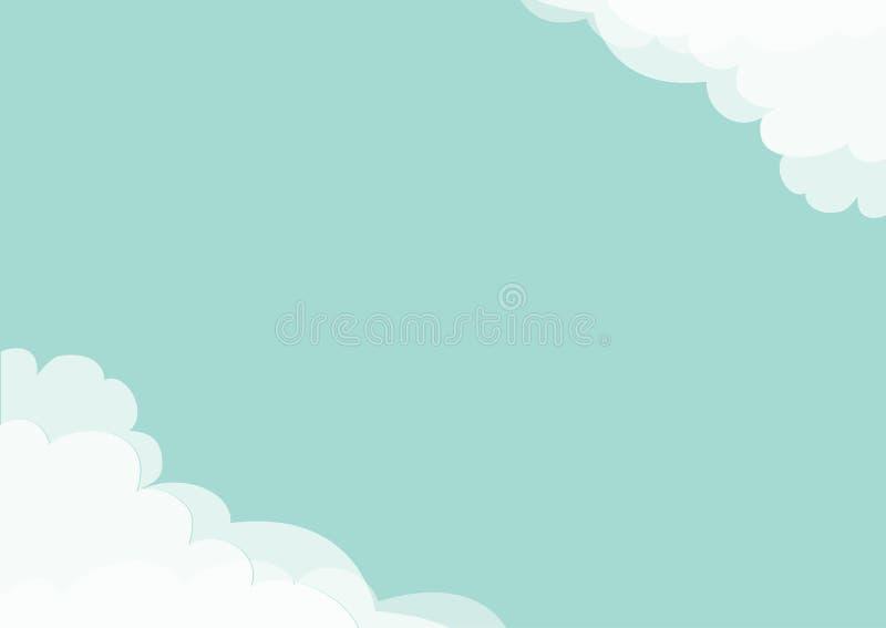Άσπρο σύννεφο στο πρότυπο πλαισίων γωνιών μπλε ουρανός Χνουδωτό cloudshape Νεφελώδης καιρός Επίπεδο σχέδιο Υπόβαθρο απομονωμένος απεικόνιση αποθεμάτων