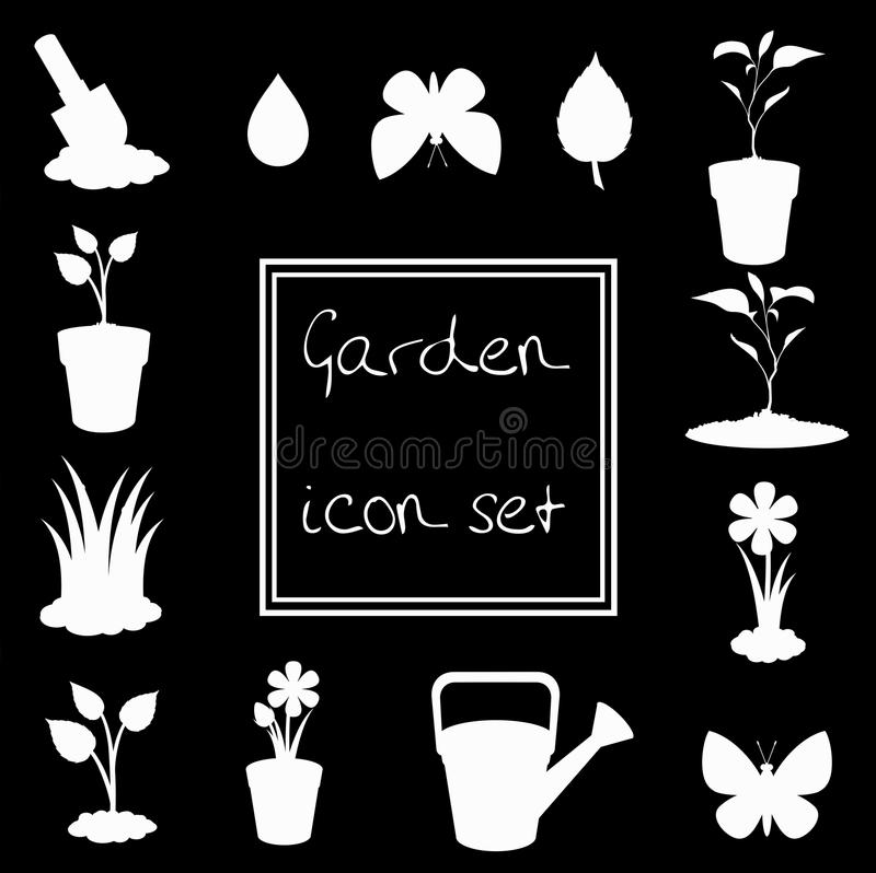 Άσπρο σύνολο εικονιδίων κηπουρικής που απομονώνεται στο μαύρο υπόβαθρο διανυσματική απεικόνιση