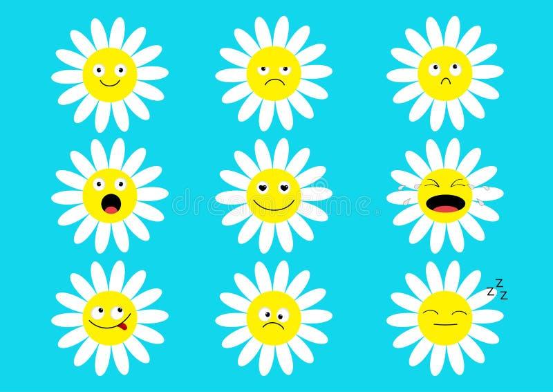 Άσπρο σύνολο συνόλου emoji εικονιδίων μαργαριτών chamomile Αστείοι χαρακτήρες κινουμένων σχεδίων kawaii Συλλογή συγκίνησης Ευτυχή απεικόνιση αποθεμάτων