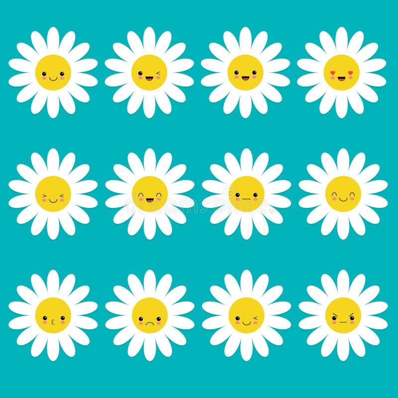 Άσπρο σύνολο συνόλου emoji εικονιδίων μαργαριτών chamomile Αστείοι χαρακτήρες κινουμένων σχεδίων kawaii Συλλογή συγκίνησης απεικόνιση αποθεμάτων