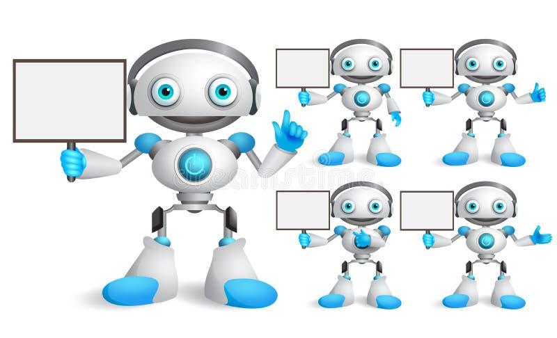 Άσπρο σύνολο χαρακτήρων ρομπότ διανυσματικό που μιλά κρατώντας την κενή αφίσσα απεικόνιση αποθεμάτων
