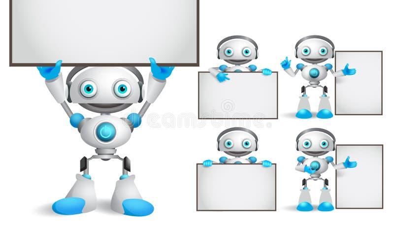 Άσπρο σύνολο χαρακτήρων ρομπότ διανυσματικό που στέκεται και που κρατά τον κενό κενό λευκό πίνακα απεικόνιση αποθεμάτων