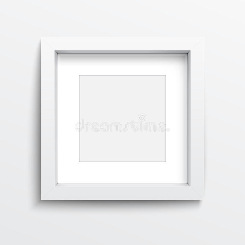 Άσπρο τετραγωνικό πλαίσιο στον γκρίζο τοίχο. ελεύθερη απεικόνιση δικαιώματος
