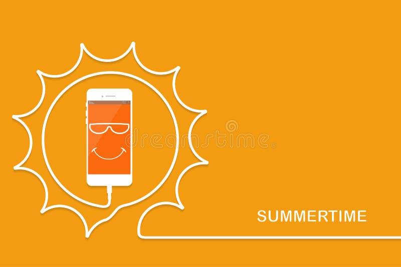 Άσπρο τηλέφωνο που χρεώνει, ήλιος διασκέδασης Καλοκαίρι Smartphone, καλώδιο γραμμών Κινητό τηλέφωνο χαιρετισμού με το πρόσωπο, πο απεικόνιση αποθεμάτων