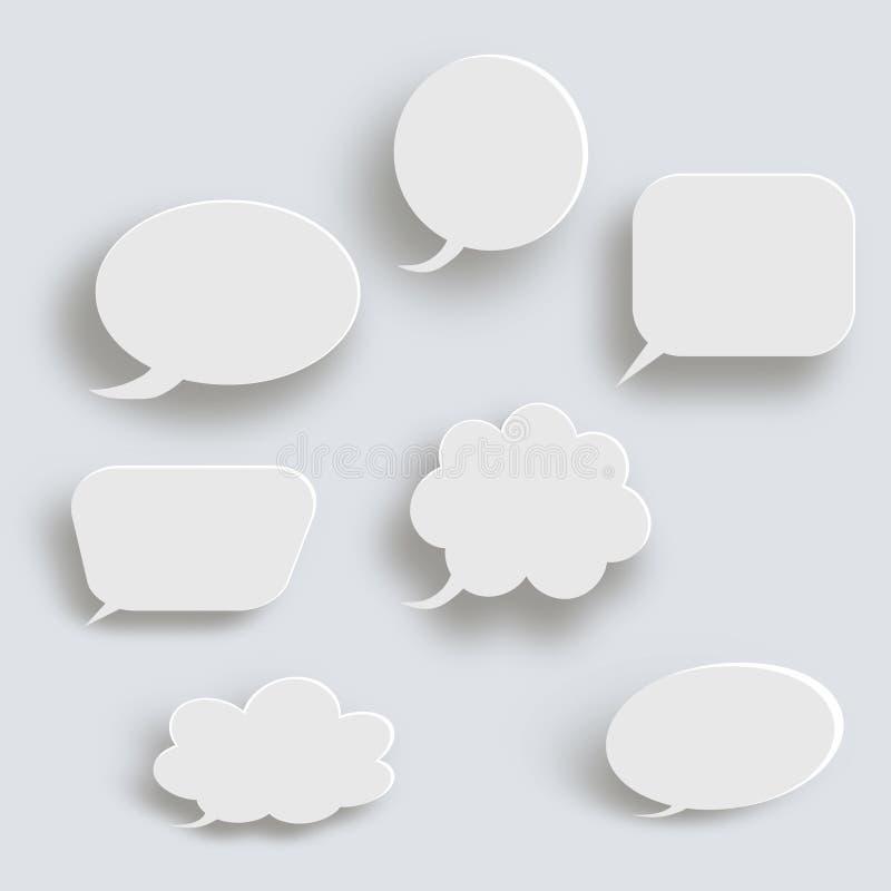 Άσπρο τρισδιάστατο κενό τετραγωνικό και στρογγυλευμένο διανυσματικό σύνολο κουμπιών Κύκλος εμβλημάτων κουμπιών, διεπαφή διακριτικ διανυσματική απεικόνιση