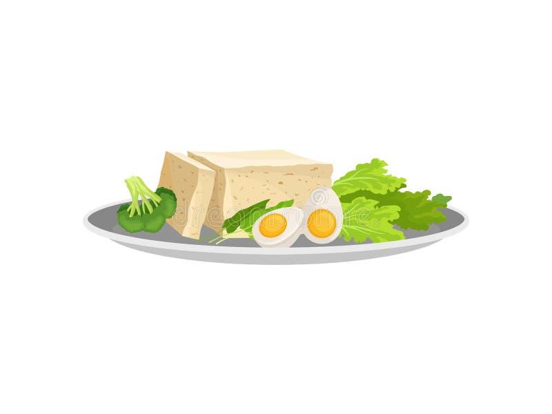 Άσπρο τυρί με το αυγό και πράσινα σε ένα πιάτο E διανυσματική απεικόνιση