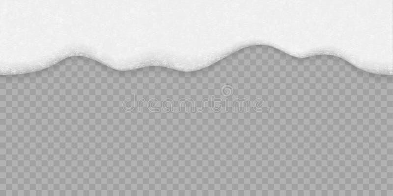 Άσπρο υπόβαθρο αφρού φυσαλίδων σαπουνιών Διανυσματικό άνευ ραφής μπύρα, σαμπουάν ή θαλάσσιο νερό και σύσταση αφρού λουτρών ελεύθερη απεικόνιση δικαιώματος