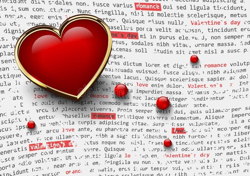 Άσπρο υπόβαθρο ημέρας βαλεντίνων με τη στιλπνή κόκκινη καρδιά στις χρυσές χάντρες πλαισίων και γυαλιού στο αφηρημένο κείμενο εφημ ελεύθερη απεικόνιση δικαιώματος