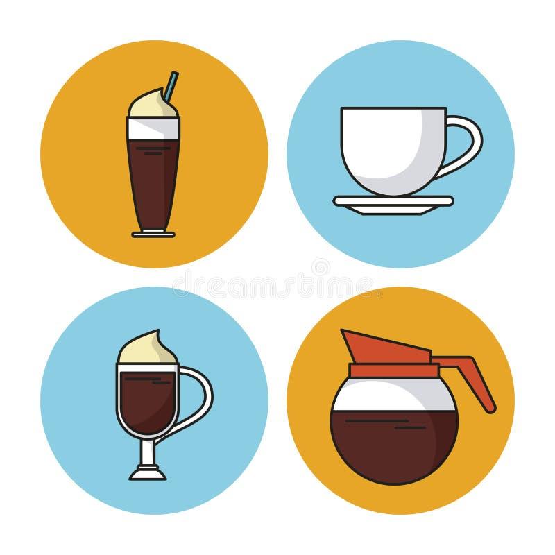 Άσπρο υπόβαθρο με τα ζωηρόχρωμα κυκλικά πλαίσια με τα εικονίδια των διαφορετικών ποτών με τον καφέ απεικόνιση αποθεμάτων