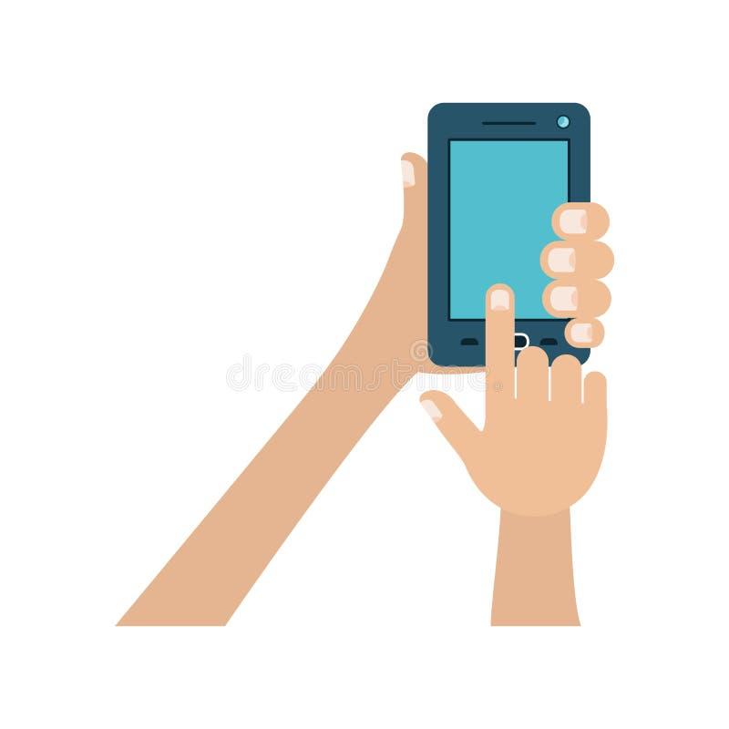 Άσπρο υπόβαθρο με τα ζωηρόχρωμα χέρια που κρατά το smartphone απεικόνιση αποθεμάτων