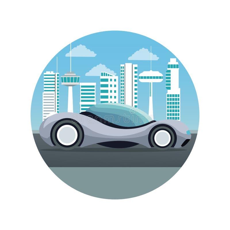 Άσπρο υπόβαθρο με την κυκλική σκιαγραφία τοπίων πόλεων πλαισίων φουτουριστική με το ζωηρόχρωμο αθλητικό γκρίζο σύγχρονο αυτοκίνητ διανυσματική απεικόνιση