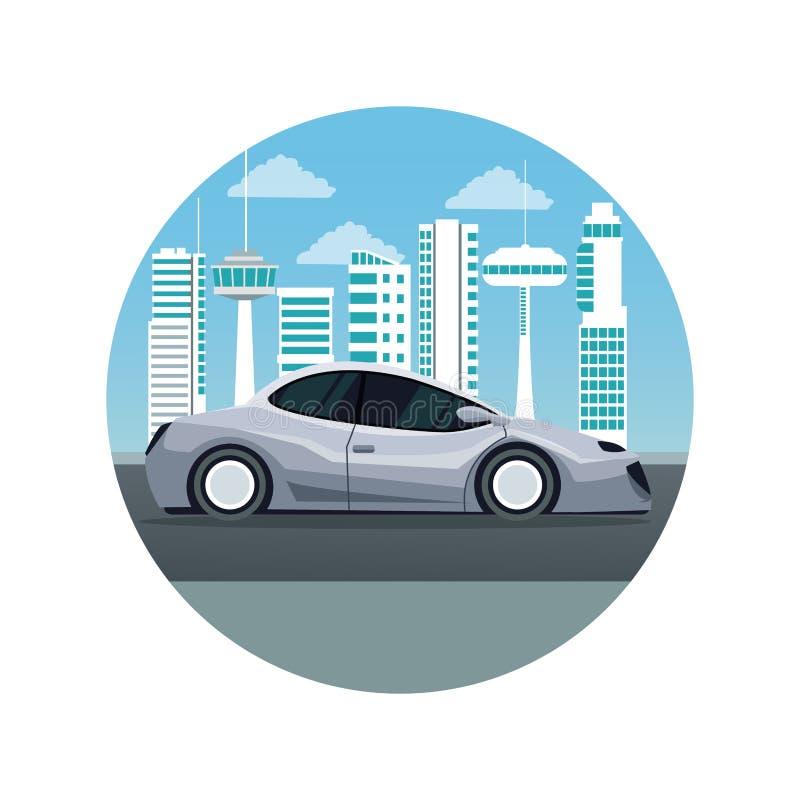 Άσπρο υπόβαθρο με την κυκλική σκιαγραφία τοπίων πόλεων πλαισίων φουτουριστική με το ζωηρόχρωμο σύγχρονο γκρίζο όχημα αυτοκινήτων διανυσματική απεικόνιση