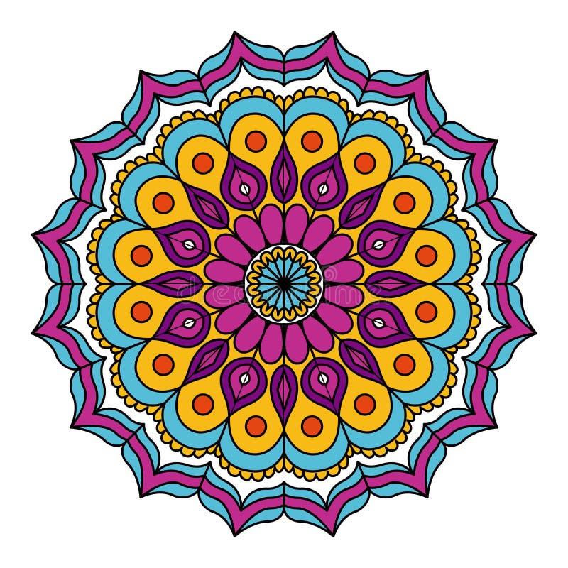 Άσπρο υπόβαθρο με τη ζωηρόχρωμη λουλουδιών διακόσμηση κύκλων mandala εκλεκτής ποιότητας διακοσμητική ελεύθερη απεικόνιση δικαιώματος