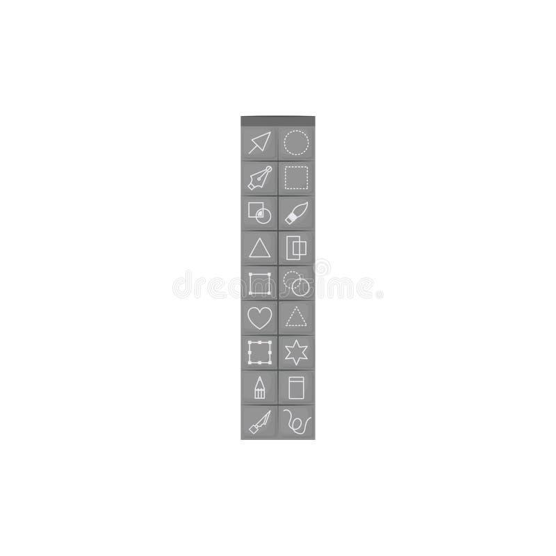 Άσπρο υπόβαθρο με τη ζωηρόχρωμη σκιαγραφία του βασικού κιβωτίου εργαλείων για το σχεδιαστή γραφικό απεικόνιση αποθεμάτων