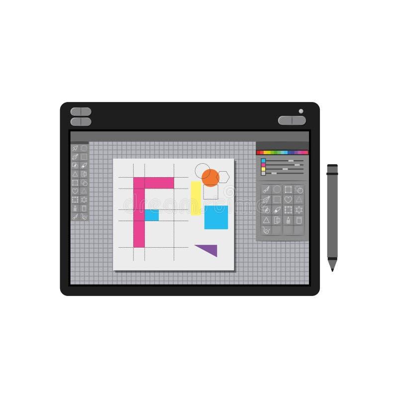 Άσπρο υπόβαθρο με τη ζωηρόχρωμη σκιαγραφία του γραφικού πίνακα σχεδιαστών με το γεωμετρικό σχέδιο διανυσματική απεικόνιση