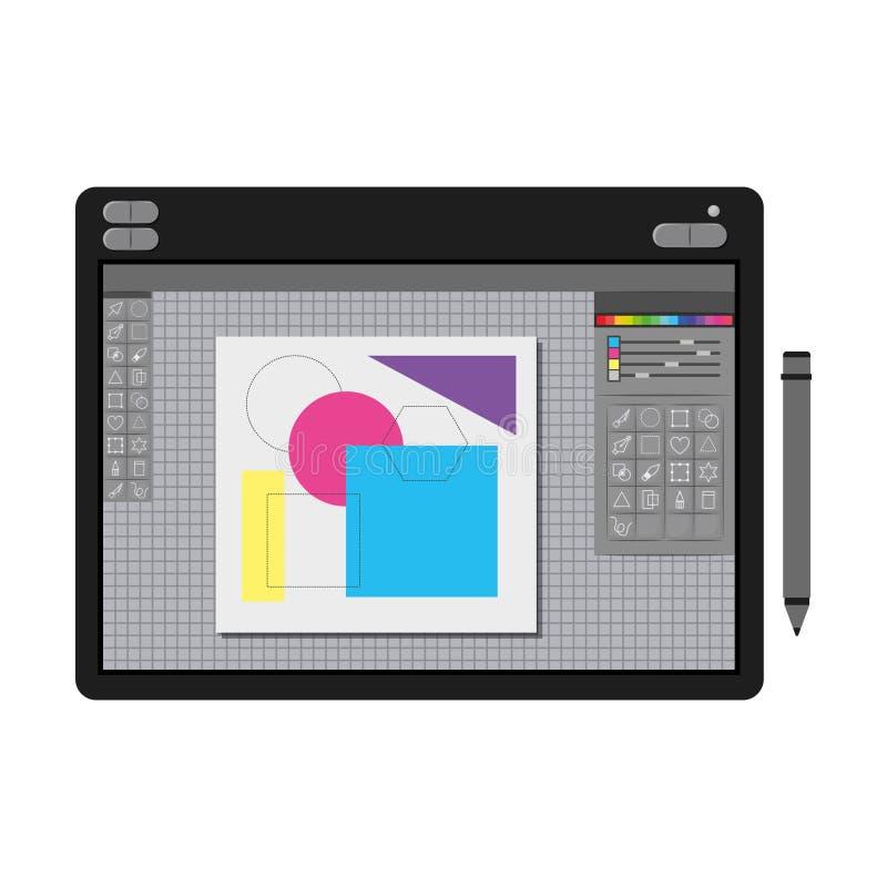 Άσπρο υπόβαθρο με τη ζωηρόχρωμη σκιαγραφία του γραφικού πίνακα σχεδιαστών με τους γεωμετρικούς αριθμούς απεικόνιση αποθεμάτων