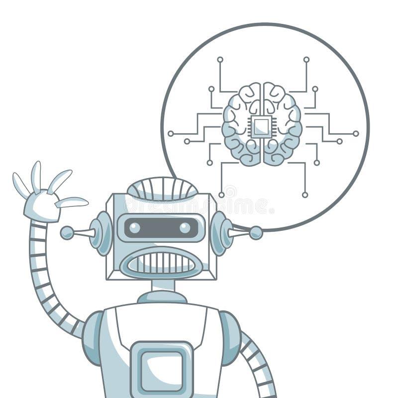 Άσπρο υπόβαθρο με τη σκίαση τμημάτων χρώματος σκιαγραφιών του ρομπότ κινηματογραφήσεων σε πρώτο πλάνο και εγκέφαλος εικονιδίων με διανυσματική απεικόνιση