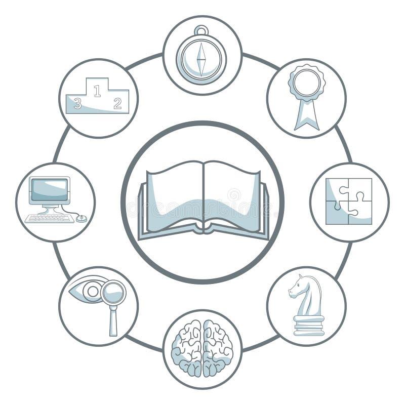 Άσπρο υπόβαθρο με τη σκίαση τμημάτων χρώματος σκιαγραφιών του ανοικτού βιβλίου και τη ανάπτυξη επιχείρησης εικονιδίων γύρω απεικόνιση αποθεμάτων