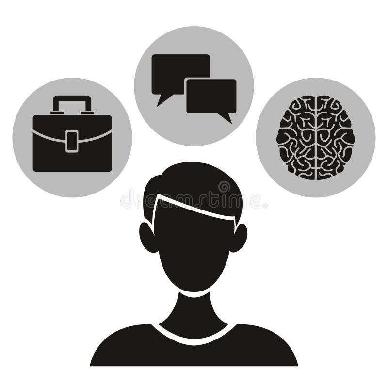 Άσπρο υπόβαθρο με το μονοχρωματικό μισό πρόσωπο σωμάτων με την κυκλική ακαδημαϊκή γνώση στοιχείων πλαισίων μέσα διανυσματική απεικόνιση