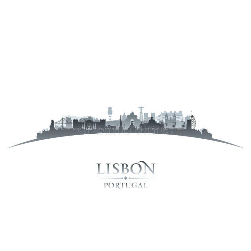 Άσπρο υπόβαθρο σκιαγραφιών οριζόντων πόλεων της Λισσαβώνας Πορτογαλία απεικόνιση αποθεμάτων
