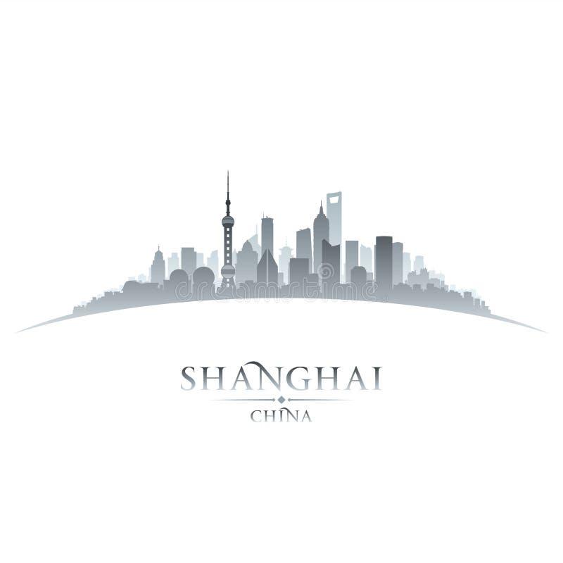 Άσπρο υπόβαθρο σκιαγραφιών οριζόντων πόλεων της Σαγκάη Κίνα ελεύθερη απεικόνιση δικαιώματος