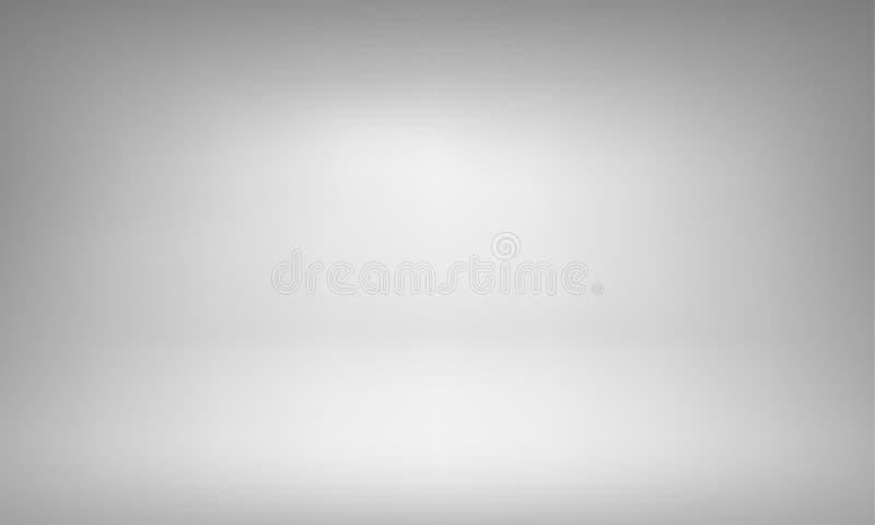 Άσπρο υπόβαθρο στούντιο με την κλίση επικέντρων για το ασφάλιστρο, πυροβολισμός προϊόντων πολυτέλειας απεικόνιση αποθεμάτων