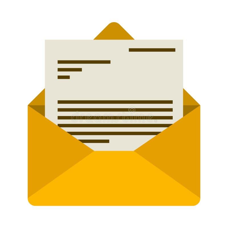 Άσπρο υπόβαθρο το ζωηρόχρωμο ταχυδρομείο φακέλων που ανοίγουν με με την επιστολή διανυσματική απεικόνιση