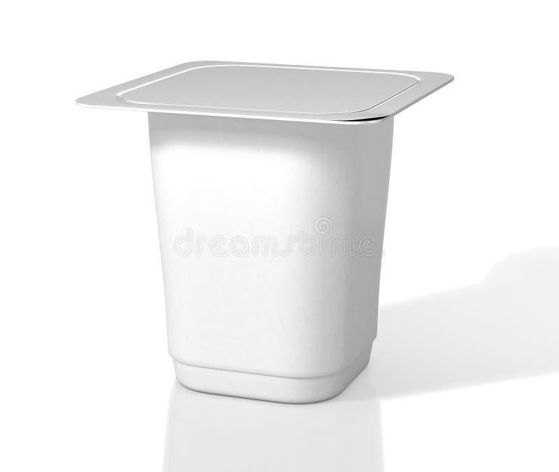 Άσπρο φλυτζάνι γιαουρτιού με το καπάκι φύλλων αλουμινίου τρισδιάστατη απεικόνιση ελεύθερη απεικόνιση δικαιώματος