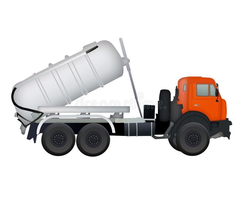 Άσπρο φορτηγό αναμικτών τσιμέντου που απομονώνεται διανυσματική απεικόνιση