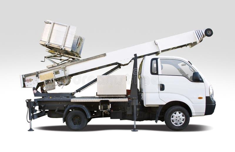 Άσπρο φορτηγό κάδων που απομονώνεται στο λευκό στοκ εικόνες με δικαίωμα ελεύθερης χρήσης