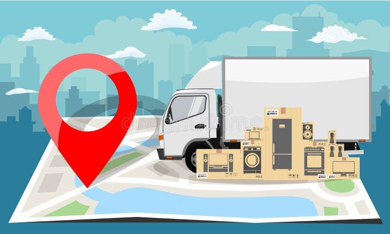Άσπρο φορτηγό πέρα από το διπλωμένο επίπεδο χάρτη και την κόκκινη καρφίτσα Ανασκόπηση εικονικής παράστασης πόλης επίσης corel σύρ διανυσματική απεικόνιση