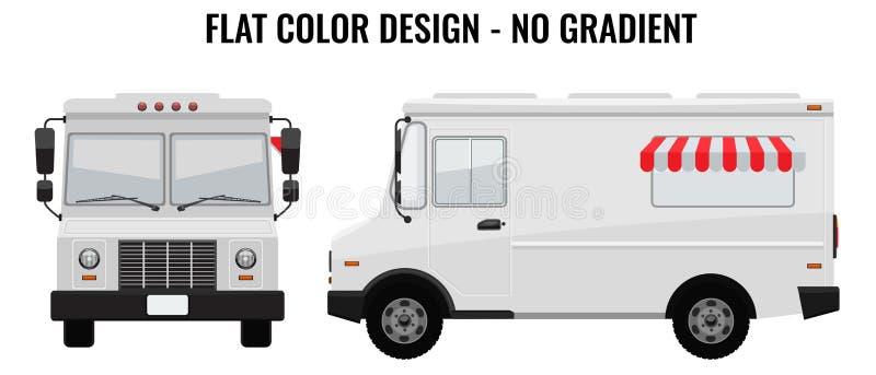 Άσπρο φορτηγό τροφίμων γεια-Hi-detailed με το στερεό και επίπεδο πρότυπο σχεδίου χρώματος για τη χλεύη επάνω στην ταυτότητα εμπορ απεικόνιση αποθεμάτων