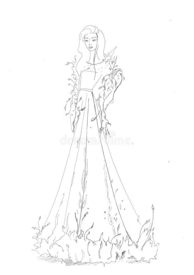 Άσπρο φόρεμα βραδιού στοκ φωτογραφία