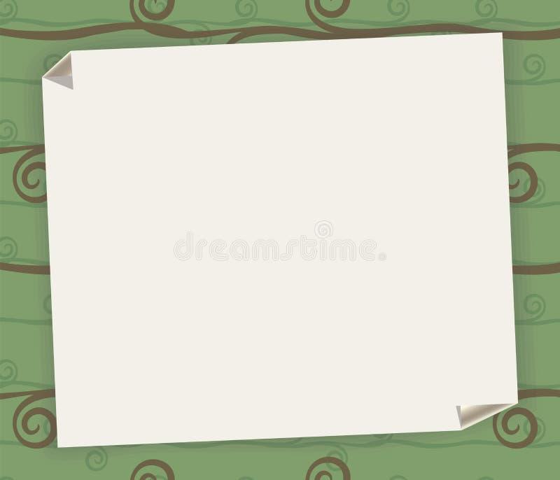 Άσπρο φύλλο με μια τυλιγμένη γωνία σε ένα υπόβαθρο του πράσινου διαμορφωμένου τραπεζομάντιλου για μια συνταγή ή σημείωση με ένα δ απεικόνιση αποθεμάτων