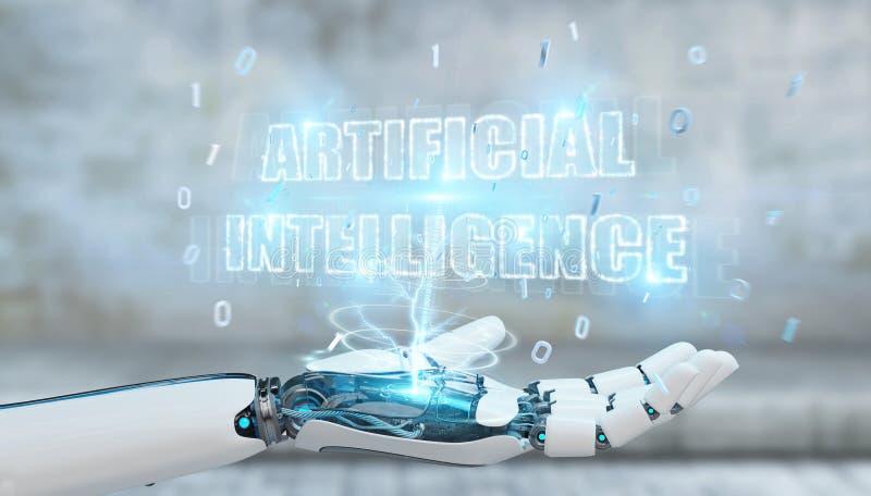 Άσπρο χέρι cyborg που χρησιμοποιεί ψηφιακό hol κειμένων τεχνητής νοημοσύνης ελεύθερη απεικόνιση δικαιώματος