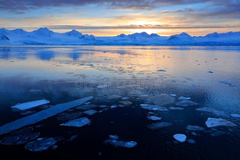 Άσπρο χιονώδες βουνό, μπλε παγετώνας Svalbard, Νορβηγία Πάγος στον ωκεανό Λυκόφως παγόβουνων στο βόρειο πόλο Ρόδινα σύννεφα με το στοκ εικόνες